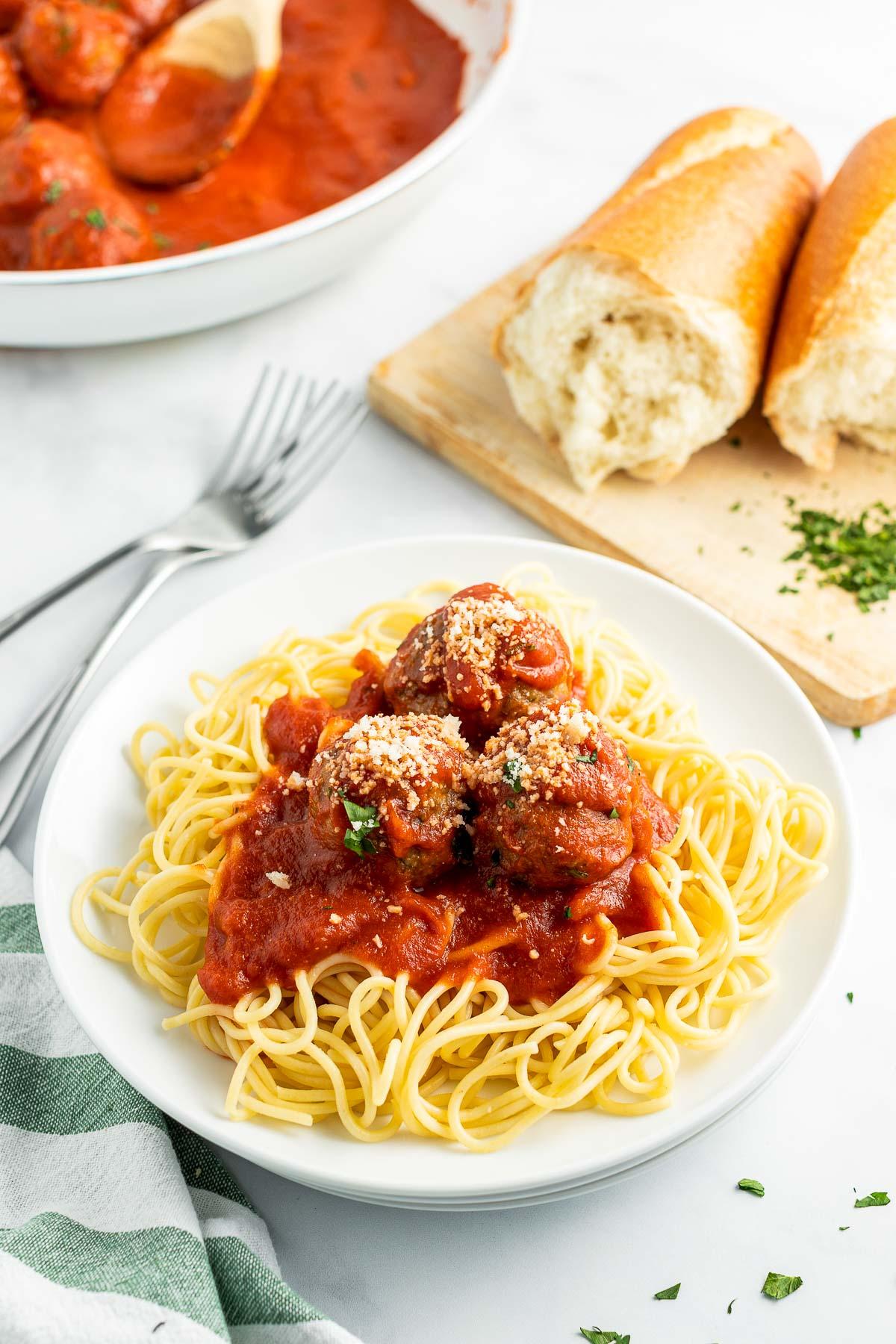 baked Italian Meatballs with pasta