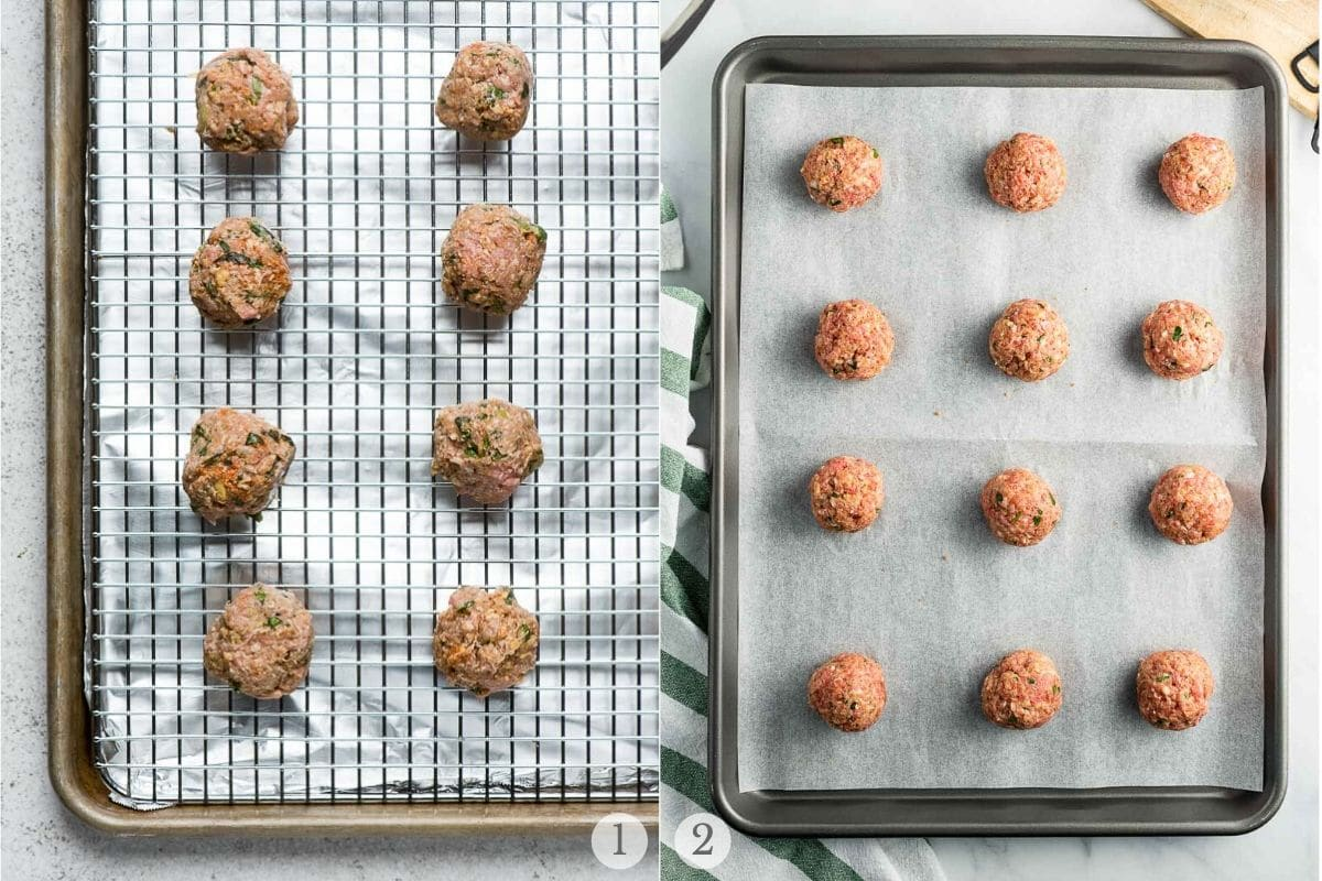 2 methods to cook baked meatballs: on a rack with pan or with parchment on pan
