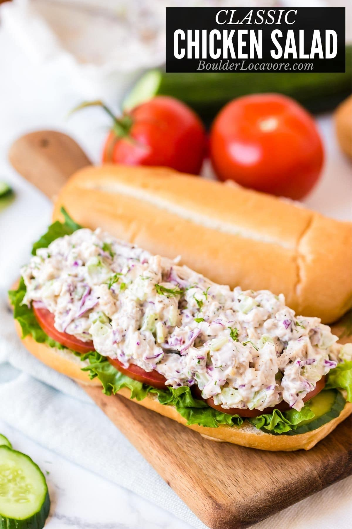 chicken salad on a sandwich roll title image
