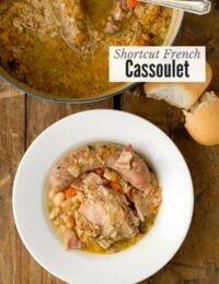 Shortcut French Cassoulet bean chicken and sausage stew in a white bowl