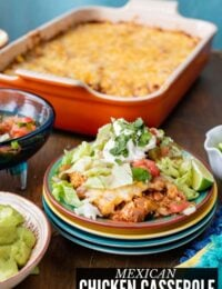 MEXICAN CHICKEN on plate with CASSEROLE TITLE