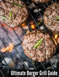 Ultimate Burger Grill Guide title photo with burgers on a charcoal grill
