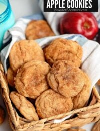 Apple Cookies in basket with title