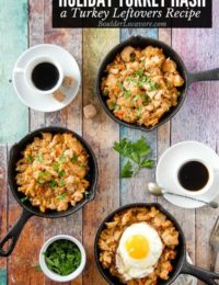 Turkey Hash turkey Leftovers recipe in mini cast iron skillets
